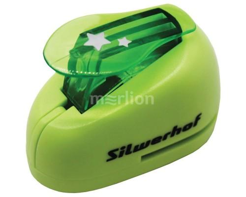 Дырокол фигурный Silwerhof Звезды пластиковый зеленый 1 отверстие