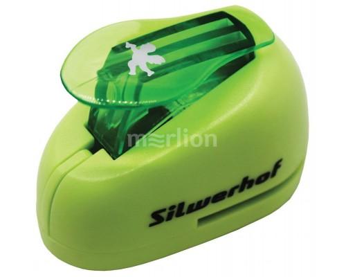 Дырокол фигурный Silwerhof Ангел пластиовый зеленый 1 отверстие