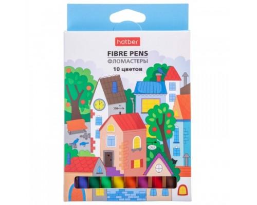 Фломастеры 10 цветов Hatber Городок в картонной коробке