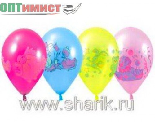 """Воздушные шары Металлик с рисунком ассорти 10"""" 1шт."""